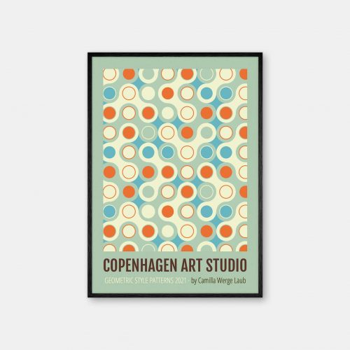 Copenhagen-Art-Studio-Camilla-Laub-Bauhaus-Circles-Plakat-sort-ramme