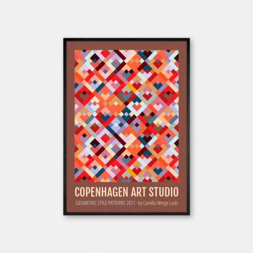 Copenhagen-Art-Studio-Camilla-Laub-Colorsquares-Plakat-sort-ramme