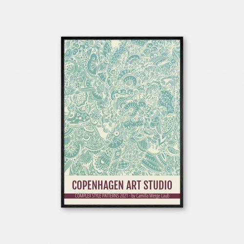 Copenhagen-Art-Studio-Camilla-Laub-Doodle-Plakat-sort-ramme