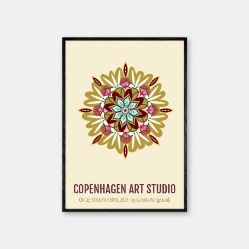 Copenhagen-Art-Studio-Camilla-Laub-Mandala-Plakat-sort-ramme