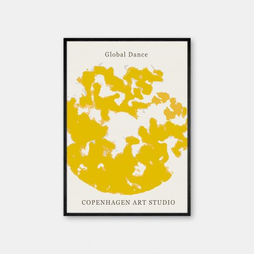 Copenhagen-Art-Studio-GlobalDance-mustard-gul-sort-ramme