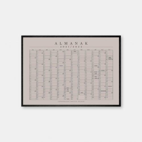 Copenhagen-Design-Studio-Halvaars-Kalender-varm-graa-plakat-sort-ramme