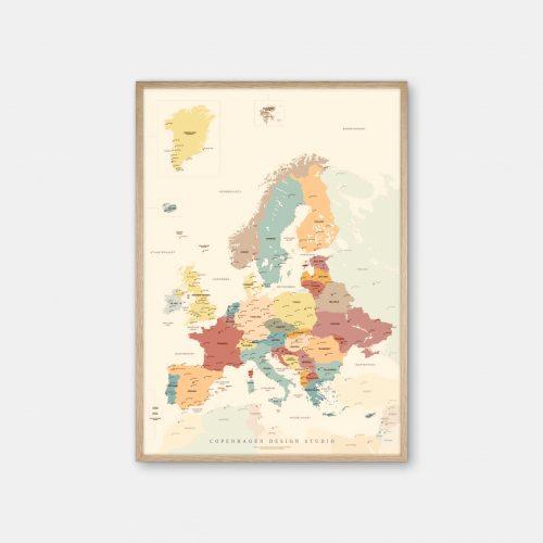 Europakort-plakat-beige-Copenhagen-Design-Studio-eg-ramme