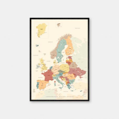 Europakort-plakat-beige-Copenhagen-Design-Studio-sort-ramme
