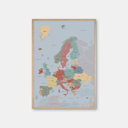 Europakort-plakat-blaa-Copenhagen-Design-Studio-eg-ramme