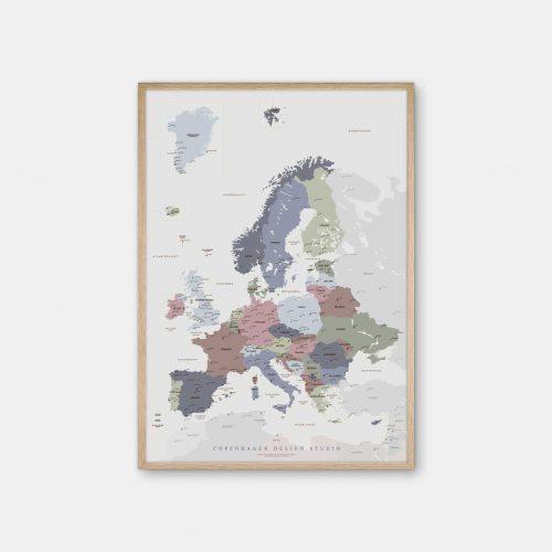 Europakort-plakat-graa-Copenhagen-Design-Studio-eg-ramme