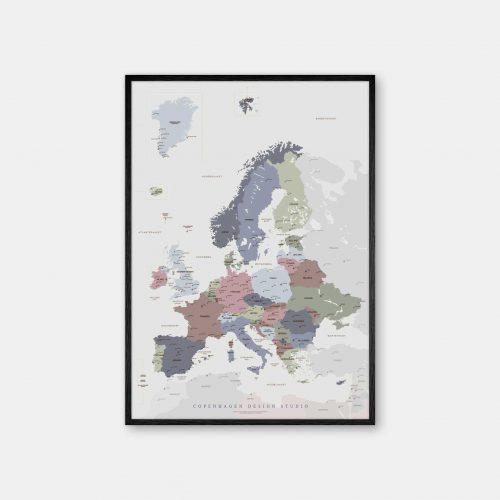 Europakort-plakat-graa-Copenhagen-Design-Studio-sort-ramme