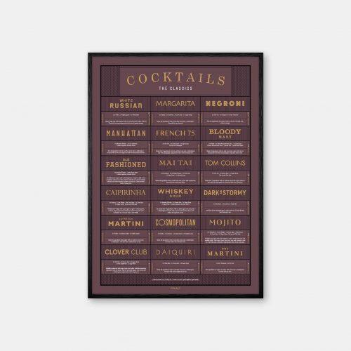 Gehalt-Cocktails-Burgundy-Poster-Black-Painted-Frame