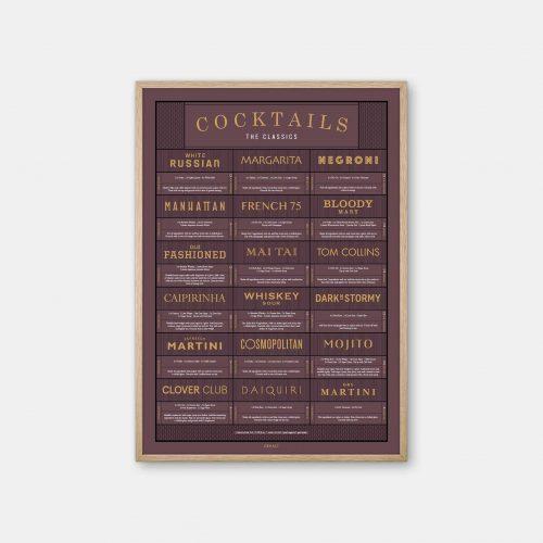 Gehalt-Cocktails-Burgundy-Poster-Oak-Frame