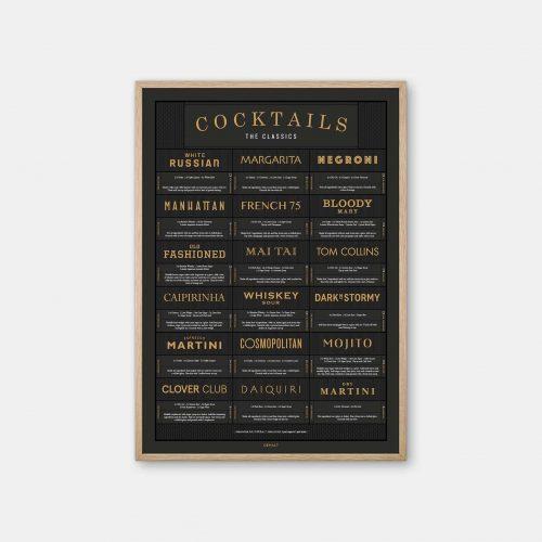 Gehalt-Cocktails-Charcoal-Poster-Oak-Frame