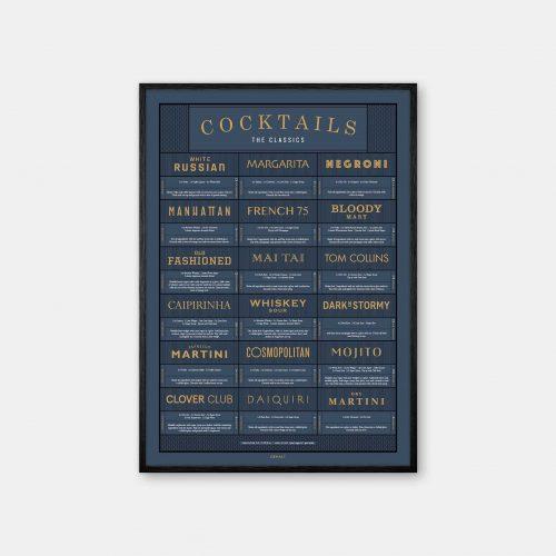 Gehalt-Cocktails-Darkblue-Poster-Black-Painted-Frame