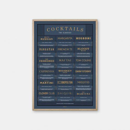 Gehalt-Cocktails-Darkblue-Poster-Oak-Frame