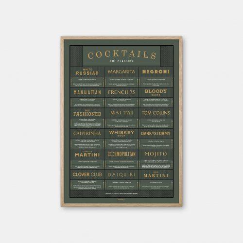 Gehalt-Cocktails-Darkgreen-Poster-Oak-Frame