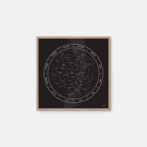 Gehalt-Constellation-Black-Poster-Oak-Frame