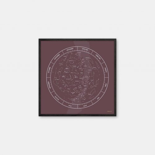 Gehalt-Constellation-Burgundy-Poster-Black-Painted-Frame