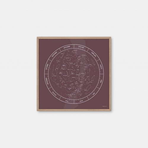 Gehalt-Constellation-Burgundy-Poster-Oak-Frame