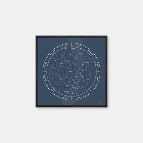 Gehalt-Constellation-Darkblue-Poster-Black-Painted-Frame