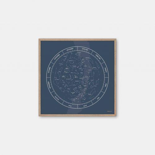 Gehalt-Constellation-Darkblue-Poster-Oak-Frame