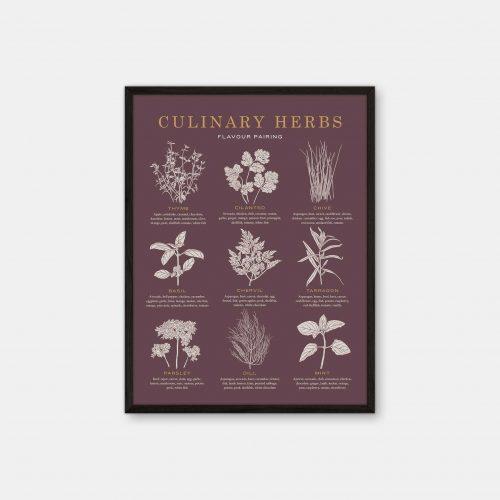 Gehalt-Culinary-Herbs-Burgundy-Poster-Black-Painted-Frame
