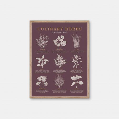Gehalt-Culinary-Herbs-Burgundy-Poster-Oak-Frame