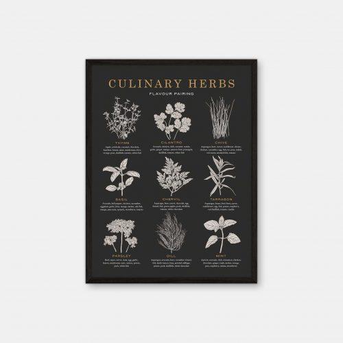Gehalt-Culinary-Herbs-Charcoal-Poster-Black-Painted-Frame