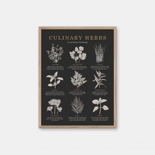 Gehalt-Culinary-Herbs-Charcoal-Poster-Oak-Frame
