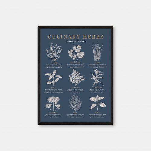 Gehalt-Culinary-Herbs-Darkblue-Poster-Black-Painted-Frame