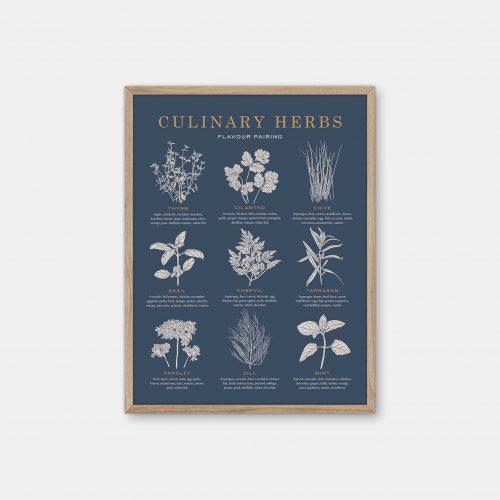 Gehalt-Culinary-Herbs-Darkblue-Poster-Oak-Frame