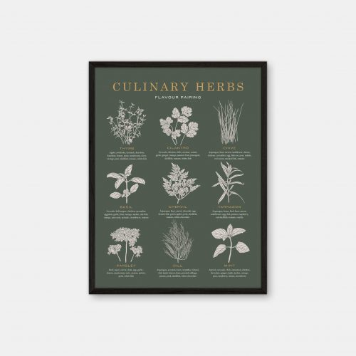 Gehalt-Culinary-Herbs-Darkgreen-Poster-Black-Painted-Frame