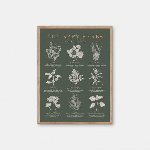 Gehalt-Culinary-Herbs-Darkgreen-Poster-Oak-Frame