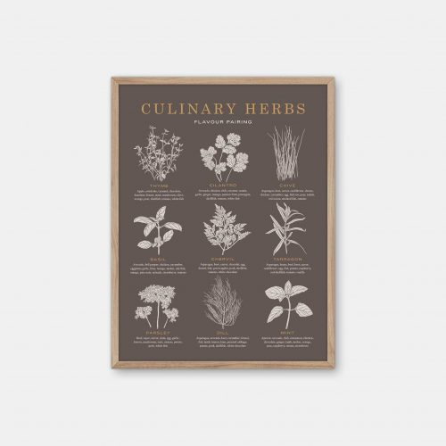 Gehalt-Culinary-Herbs-Earth-Poster-Oak-Frame