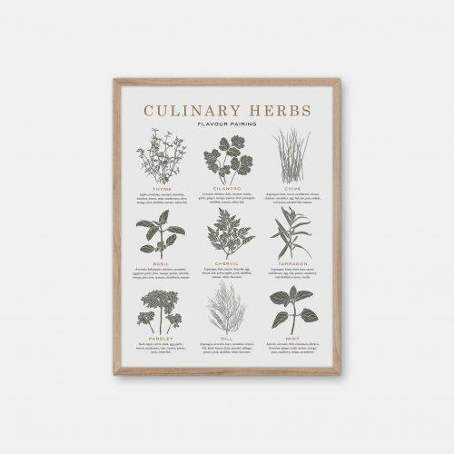Gehalt-Culinary-Herbs-Lightgrey-Poster-Oak-Frame