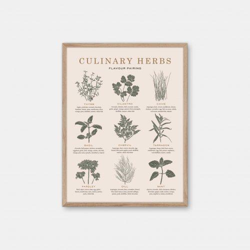 Gehalt-Culinary-Herbs-Sand-Poster-Oak-Frame