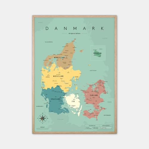 Gehalt-Danmarkskort-Blaa-50x70-Eg-Ramme-D