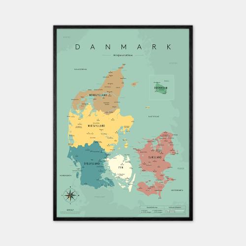 Gehalt-Danmarkskort-Blaa-50x70-Sort-Ramme-D