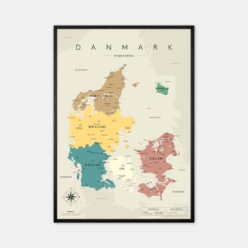 Gehalt-Danmarkskort-Graa-50x70-Sort-Ramme-D