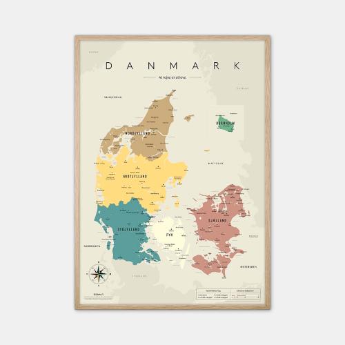 Gehalt-Danmarkskort-graa-50x70-eg-ramme-D
