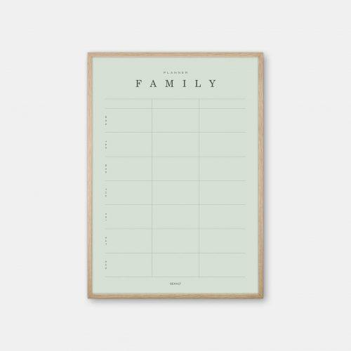 Gehalt-Family-Planner-3-Lightgreen-Poster-Oak-Frame