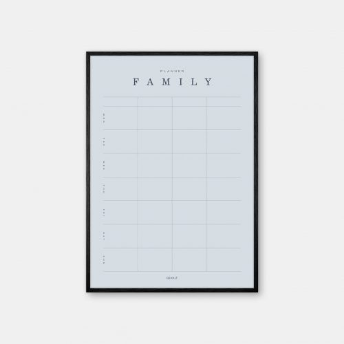 Gehalt-Family-Planner-Lightblue-Poster-Black-Painted-Frame