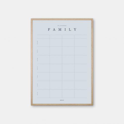 Gehalt-Family-Planner-Lightblue-Poster-Oak-Frame