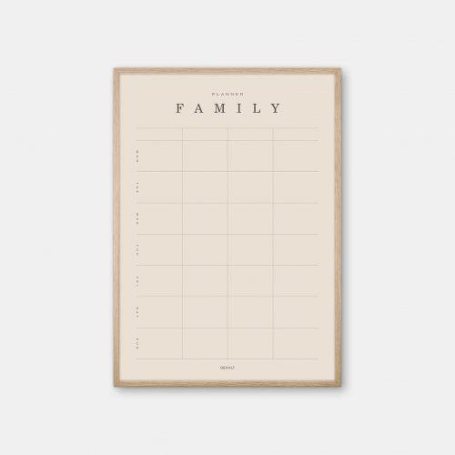 Gehalt-Family-Planner-Sand-Poster-Oak-Frame