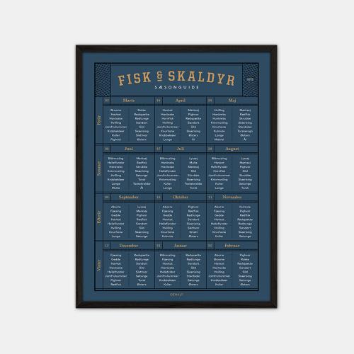Gehalt-Fisk&skalddyr-Plakat-Moerkeblaa-Sort-Ramme-D