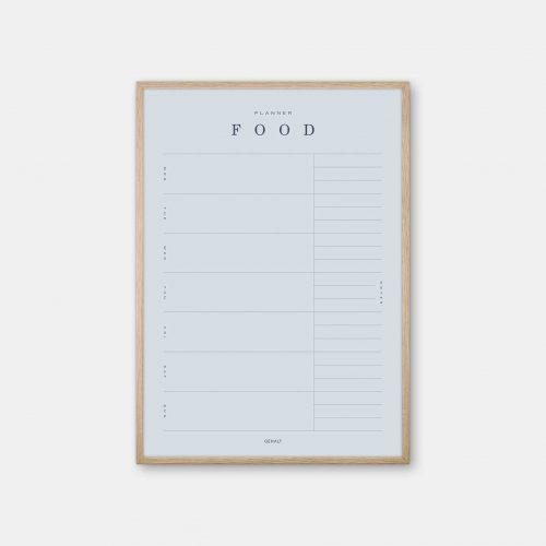 Gehalt-Food-Planner-Lightblue-Poster-Oak-Frame