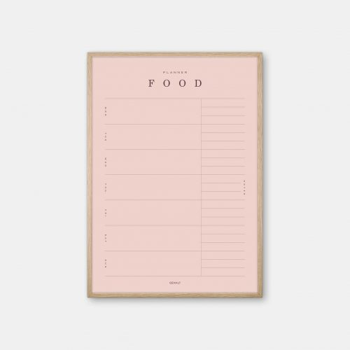 Gehalt-Food-Planner-Rose-Poster-Oak-Frame