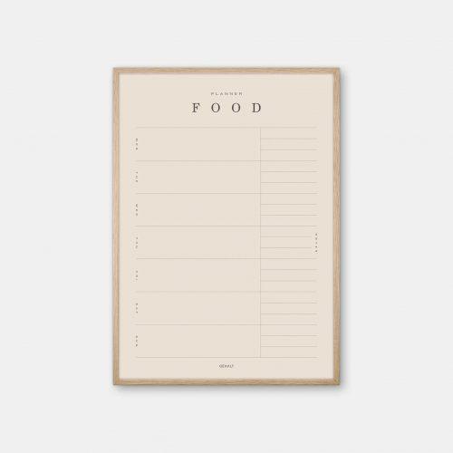 Gehalt-Food-Planner-Sand-Poster-Oak-Frame