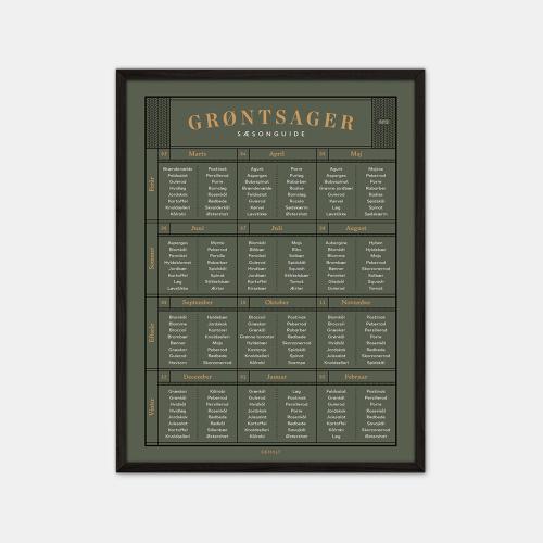 Gehalt-Groentsager-Plakat-Moerkegroen-Sort-Ramme-D