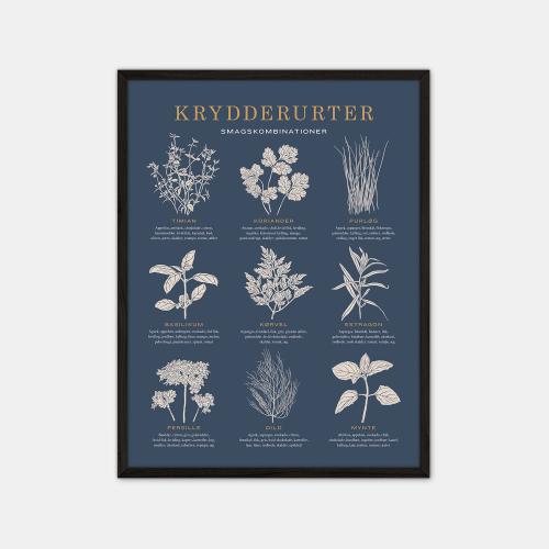 Gehalt-Krydderurter-Moerkeblaa-Plakat-Sort-Ramme-30x40