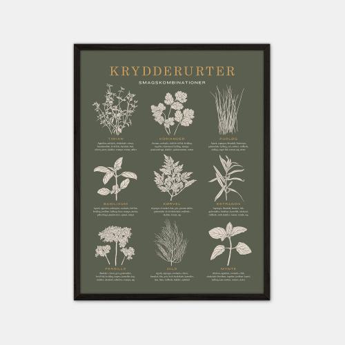Gehalt-Krydderurter-Moerkegroen-Plakat-Sort-Ramme-30x40