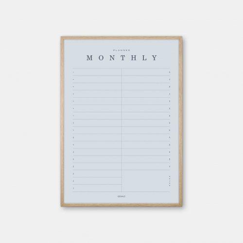 Gehalt-Monthly-Planner-Lightblue-Poster-Oak-Frame