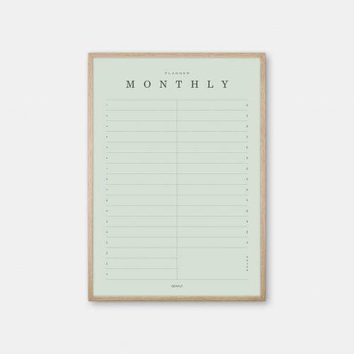 Gehalt-Monthly-Planner-Lightgreen-Poster-Oak-Frame